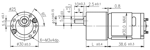 Dimensions of DC motor with spur gearbox - series SG300